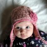 Infant Basket Weave Crochet Earflap..