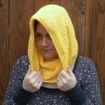 Sunshine Yellow Cowl Snood, crochet..