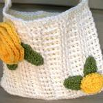 Summer Blooms, crochet white cotton..