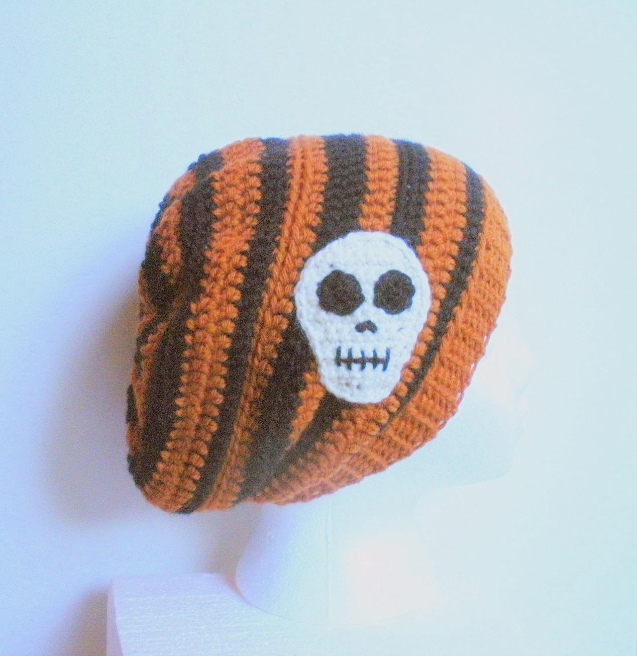 Skull Slouch in Pumpkin Orange and Black Stripes, striped crochet slouchy hat with skull applique, Halloween slouch ready to ship.