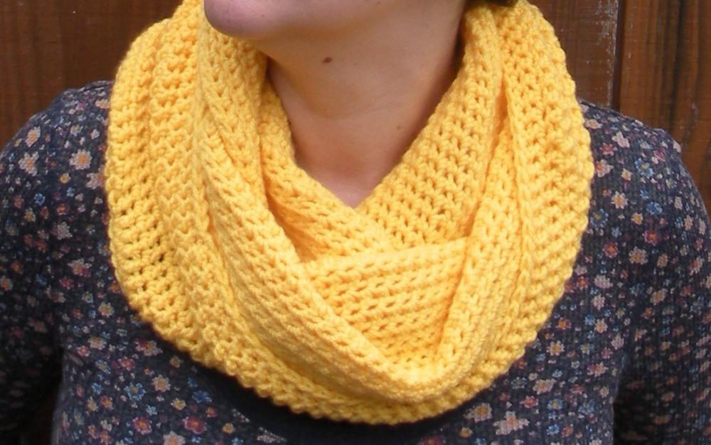 Sunshine Yellow Cowl Snood, crochet neckwarmer scarf, ready to ship.