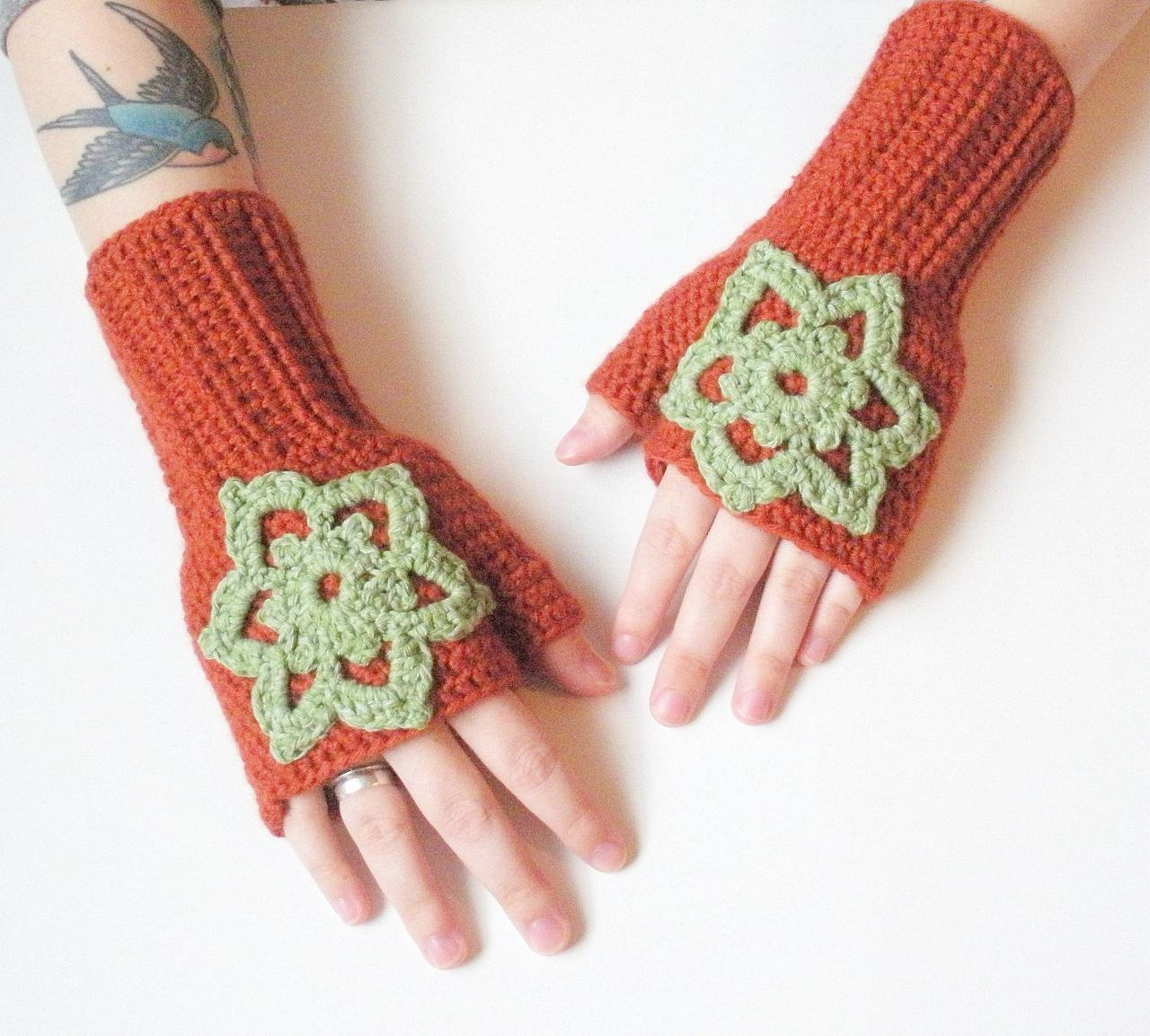 Wool Blend Crochet Fingerless Gloves Wrist Warmers in Paprika with embellishments, ready to ship.