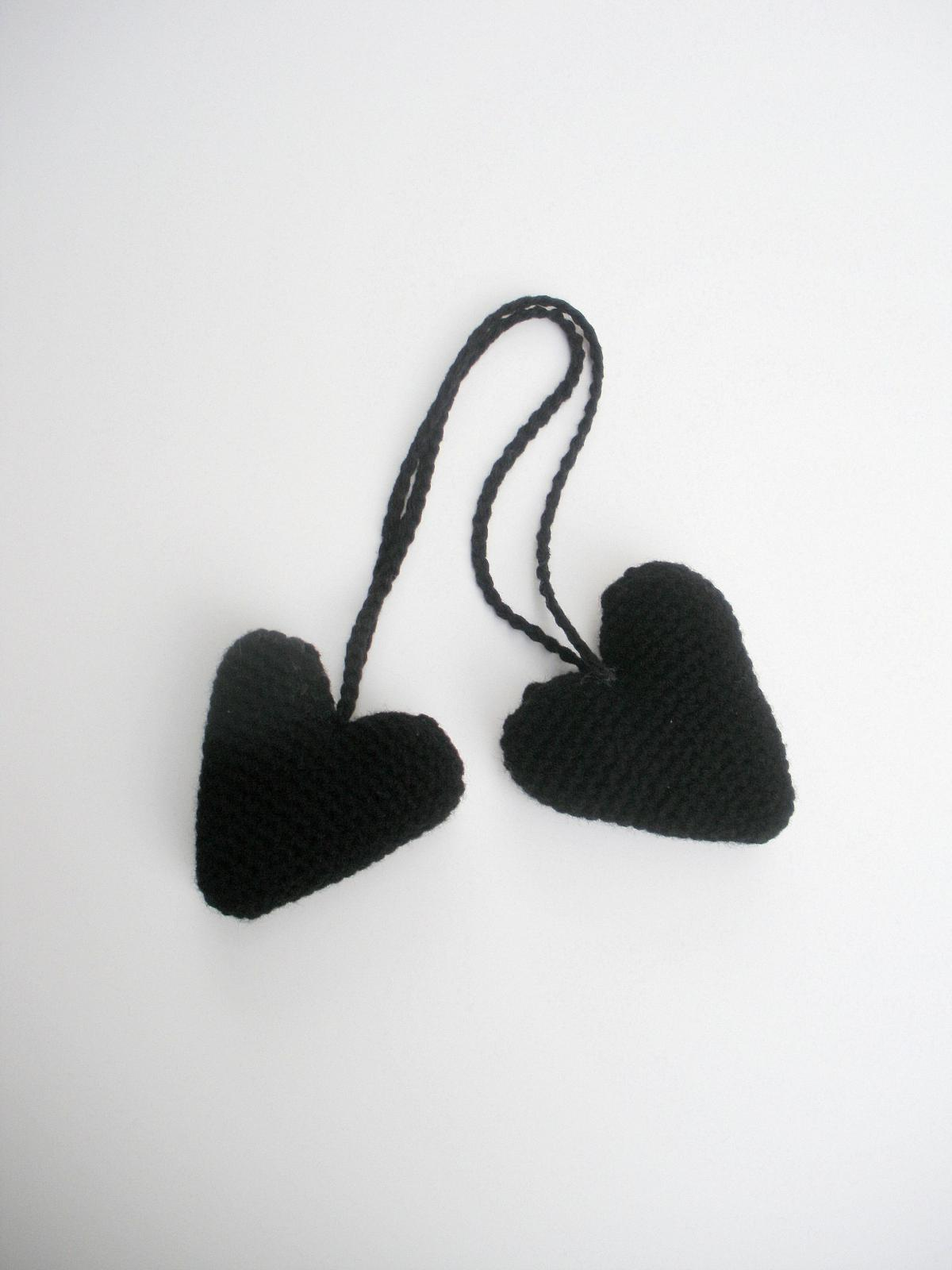 Plush Crochet Black Hanging Valentine Heart Stuffies, ready to ship.