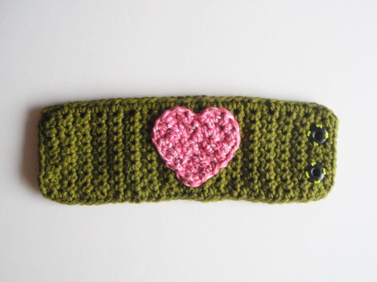 Olive Green Cotton Crochet Cuff Bracelet with Pink Heart, ready to ship.