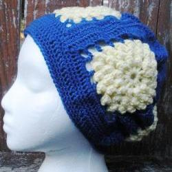 .Dahlia Popcorn Stitch Granny Square Slouch, crochet slouch hat back to school slouchy, ready to ship.