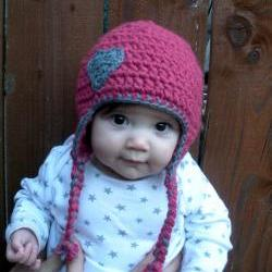 Chunky baby earflap hat in pink and grey with crocheted heart applique, infants 3-9 months, ready to ship.